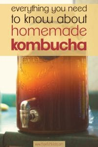 jar of fermenting kombucha on a counter at home with text overlay- everything you need to know about homemade kombucha