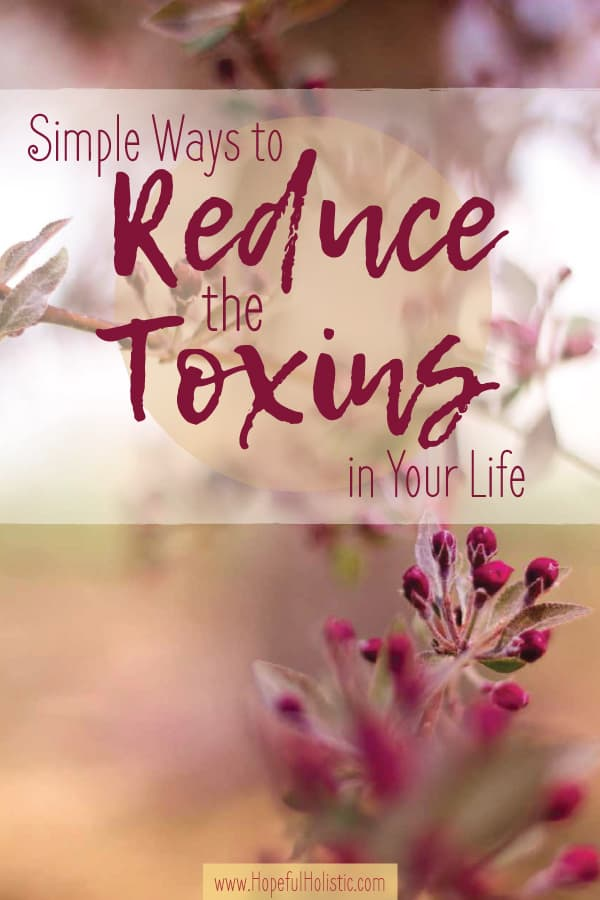 Image of blossoms on a tree with text overlay- simple ways to reduce toxins in your life