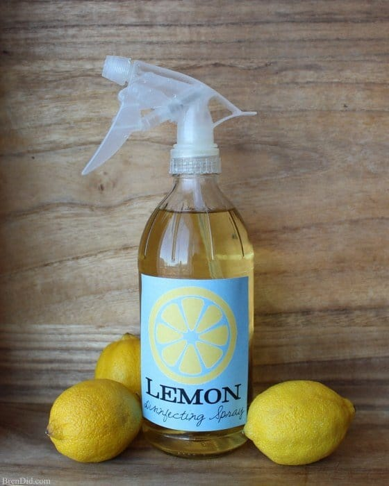 Lemon infused disinfecting spray DIY recipe