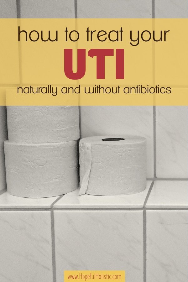 Toilet paper on white tile with text overlay- how to treat your UTI naturally and without antibiotics