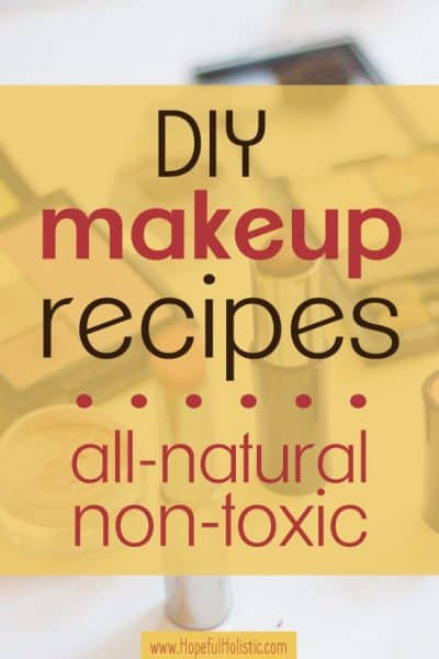 Lipstick and eyeshadow with text overlay- DIY makeup recipes all-natural non-toxic
