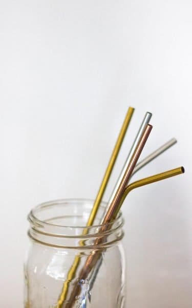 Stainless steel straws in a mason jar