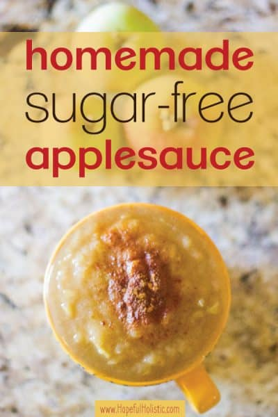 A mug of applesauce with cinnamon and text overlay- homemade sugar-free applesauce