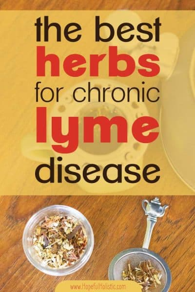 A jar of herbs next to herbal tea with text overlay- The best herbs for chronic Lyme disease
