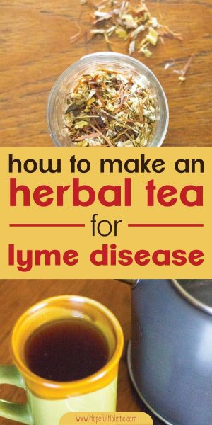 Herbs for lyme disease and a cup of tea for lyme disease with text overlay- how to make an herbal tea for lyme disease