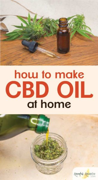 Dropper bottle of CBD oil with text overlay- How to make CBD oil at home