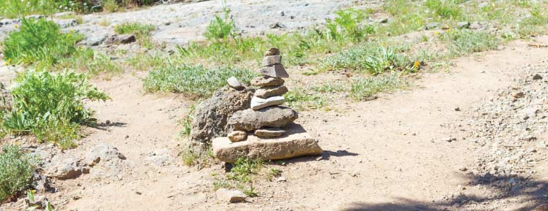 Cairn on a hiking path