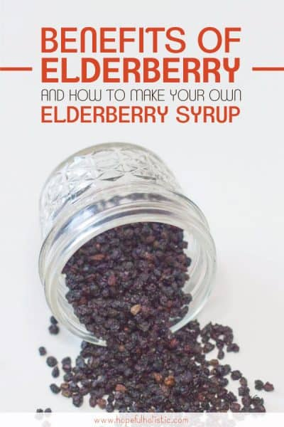 Jar of elderberries with text overlay- benefits of elderberry and how to make your own elderberry syrup