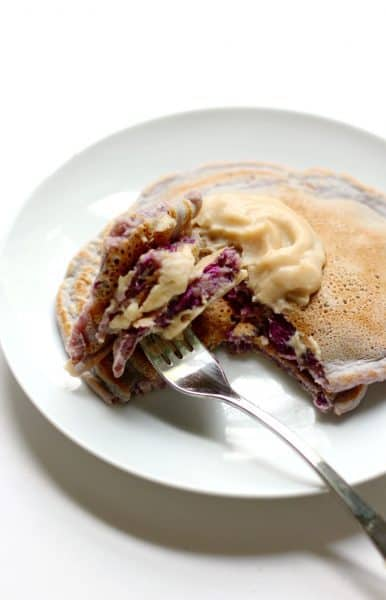 healthy vanilla purple sweet potato pancakes
