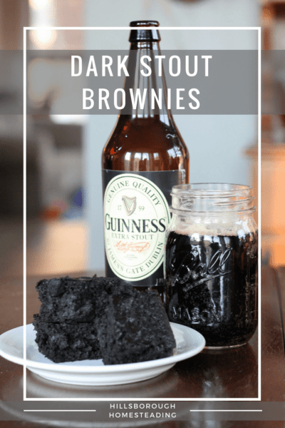dark stout black bean brownies next to a stout beer