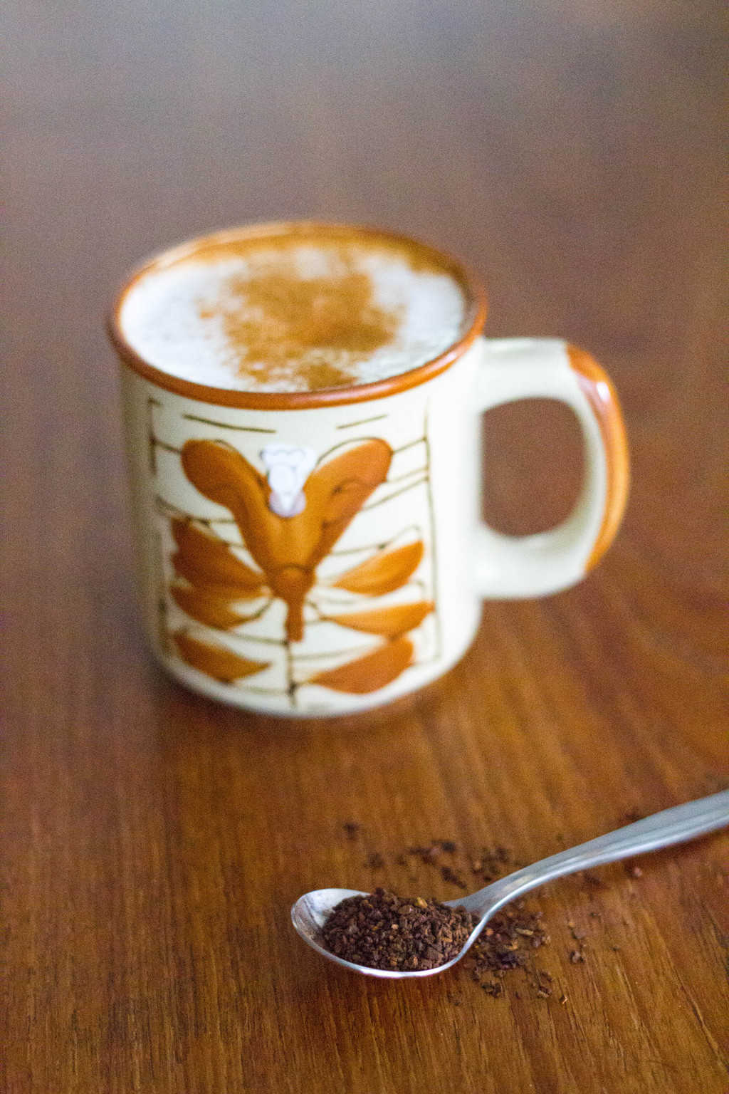 Healthy root coffee substitute with a spoonful of roasted chicory root