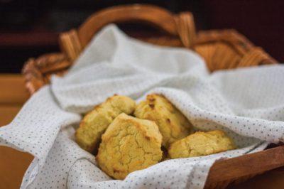Gluten-free biscuits in a basket