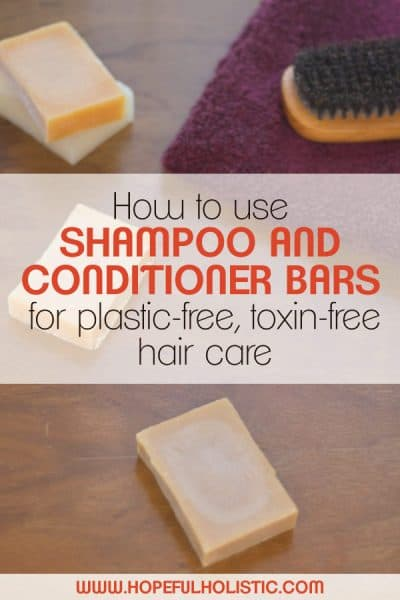 Shampoo bars and a towel with text overlay- how to use shampoo and conditioner bars for plastic-free, toxin-free hair care