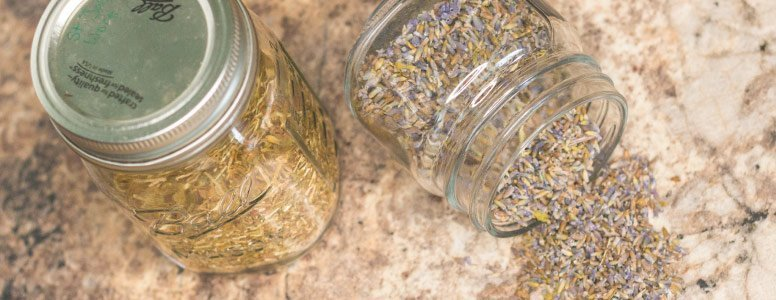 Jars of dried herbs for anxiety