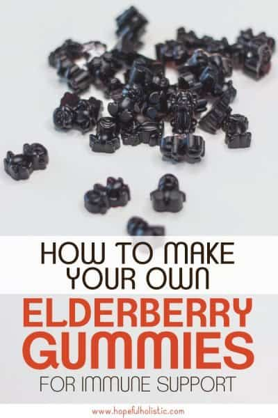 Elderberry gummies with text overlay- how to make your own elderberry gummies for immune support