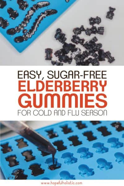 Elderberry gummies in a mold with text overlay- easy, sugar-free elderberry gummies for cold and flu season