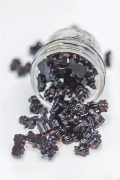 Elderberry gummies in a glass jar