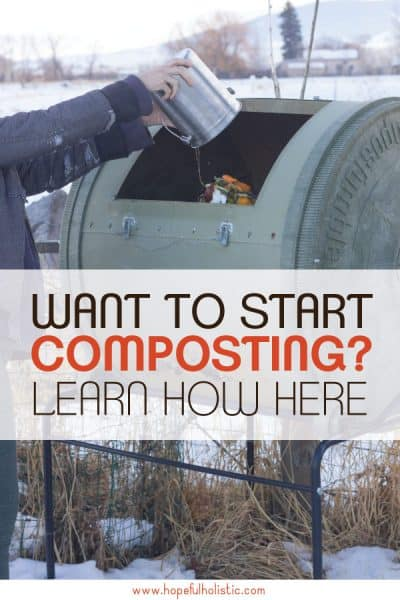 Compost bin with food scraps and text overlay- want to start composting? learn how here
