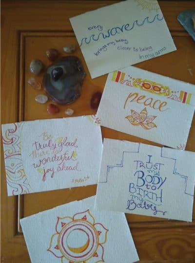Pregnancy affirmations art with crystals