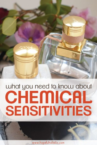 Perfume bottles with text overlay- what you need to know about chemical sensitivities