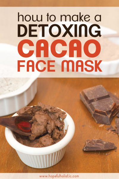 Chocolate facial mask mix with chocolate and text overlay- how to make a detoxing cacao face mask