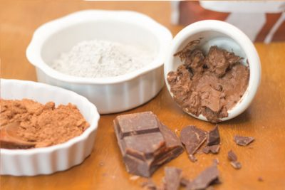 Chocolate, bentonite clay, and raw cacao for a chocolate facial mask