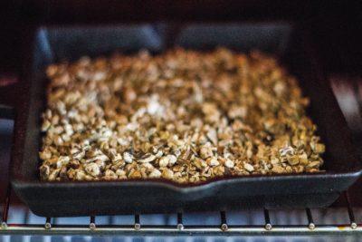 Dandelion root being roasted